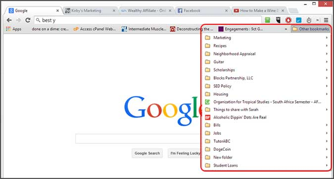 how to delete all favorites in chrome